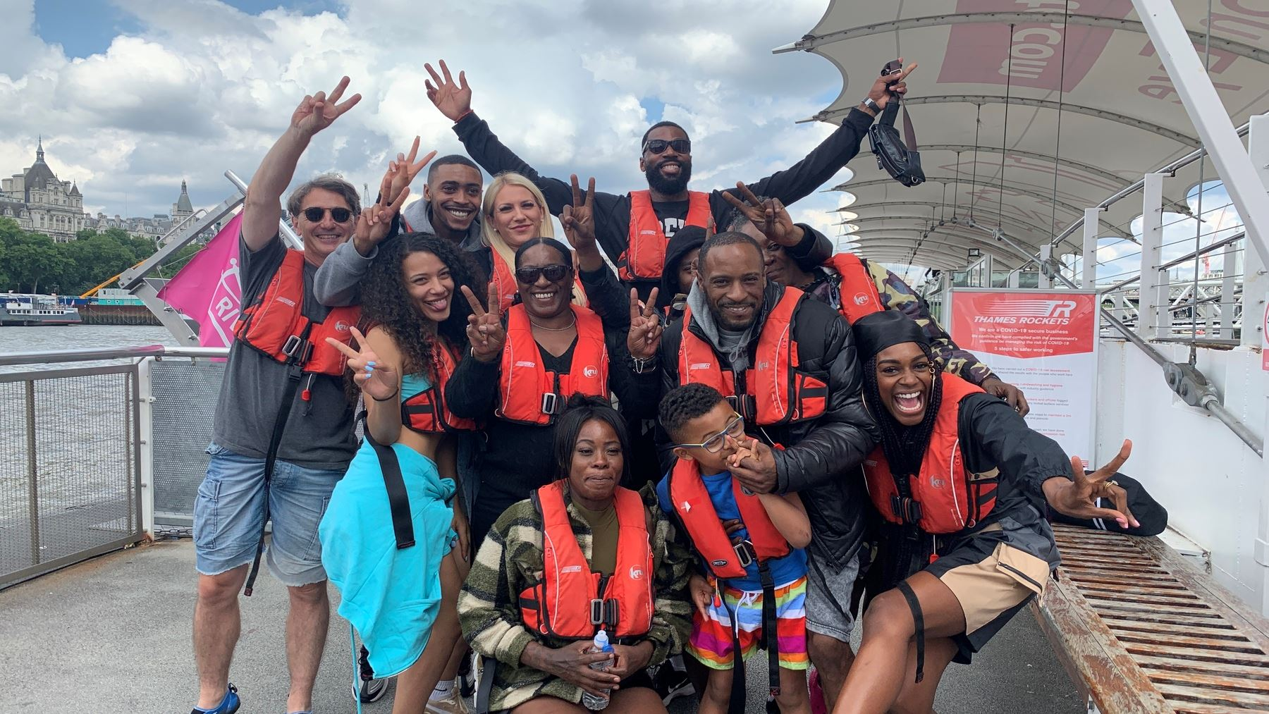Perri Shakes-Drayton and Mike Edwards have a blast on our red rocket Thames speedboats